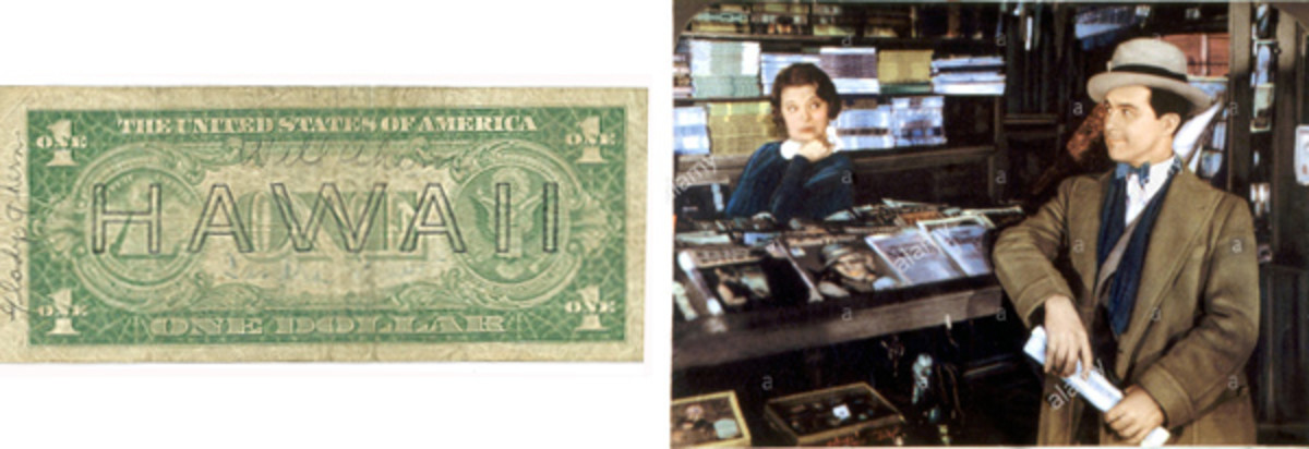 [Fig. 4] On the back of the HAWAII $1 note at left, bearing the autograph of Gene Autry, can be found the signatures of Will and Gladys Ahern, a vaudeville comedy team who accompanied Autry on his South Pacific island-hopping USO tour. At right is a contemporary photo of Will and Gladys Ahern appearing in a 1930s film.