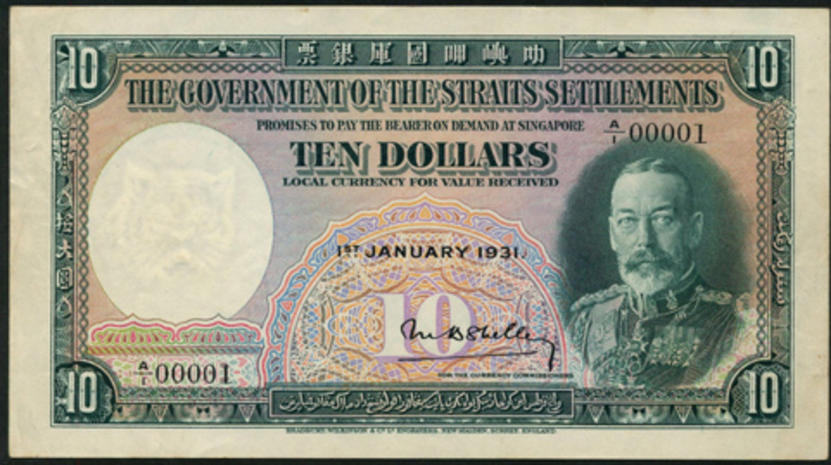The first portrait $10 of George V to be issued for Straits Settlements (P-18a) dated 1 January 1931 and with serial number A/1 00001. In PMG-53 About Uncirculated, it goes to the block in Spink London's April sale with an estimate of c. $35,000-$45,000. (Image courtesy and © Spink, London)