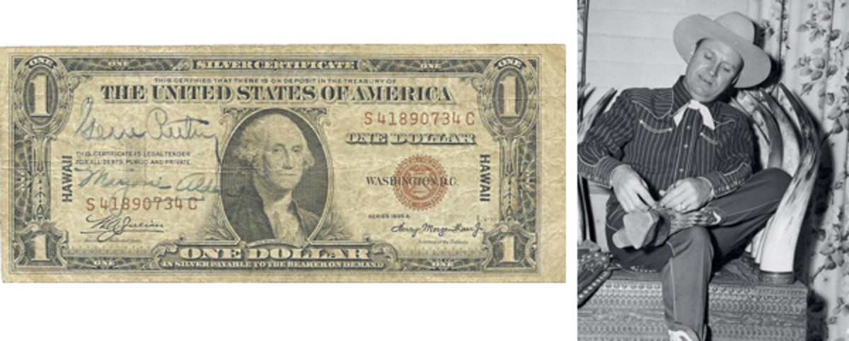"""[Fig. 3] The $1 HAWAII note at left features the autographs of Gene Autry, the singing cowboy, and Marjorie Alden, who traveled with him on his South Pacific USO tours. At right is a photo of Gene Autry in full regalia as the """"singing cowboy."""""""