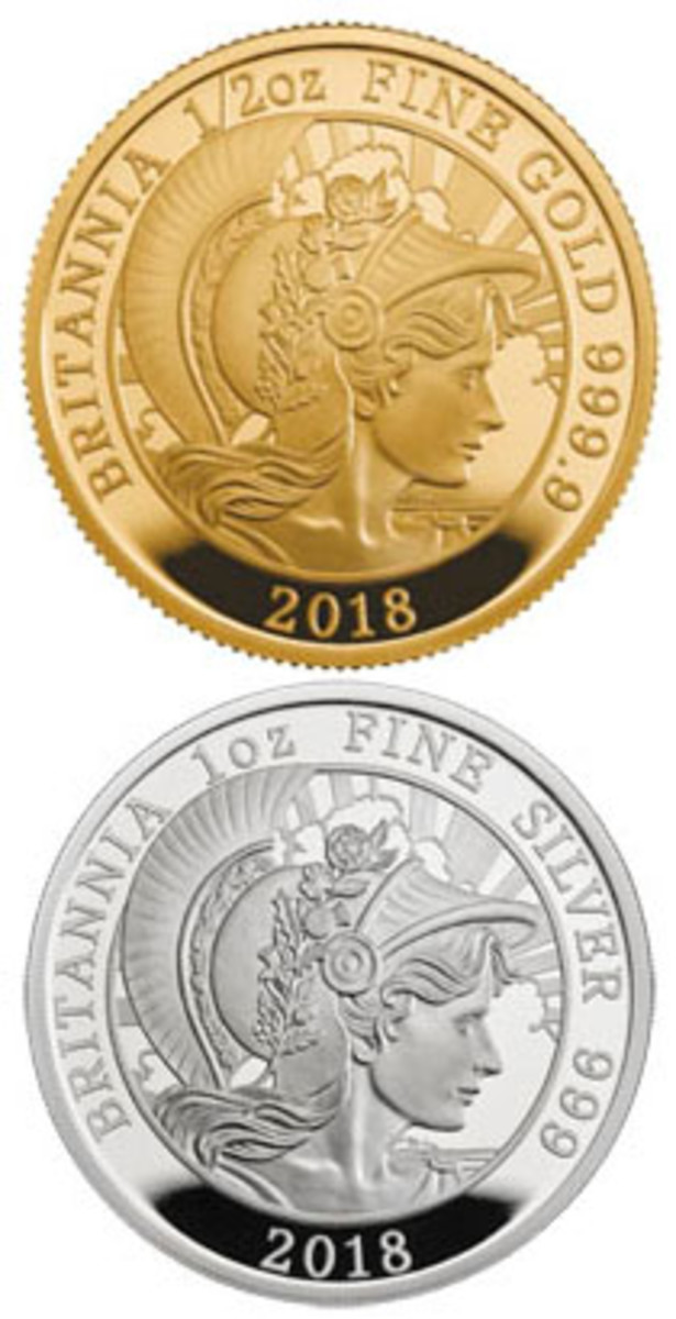 Common reverses of Britain's 2018 Britannia gold and silver proofs by David Lawrence. (Images courtesy & © The Royal Mint)