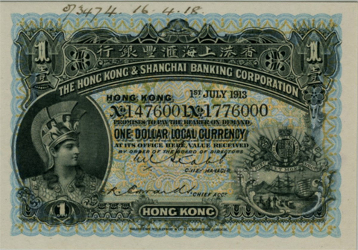 Handsome HKSBC Hong Kong specimen $1 of the 1904-1913 issue (P-155s) that will go to the block graded PMG 64 Net Choice Uncirculated. (Image courtesy Archives International Auctions)