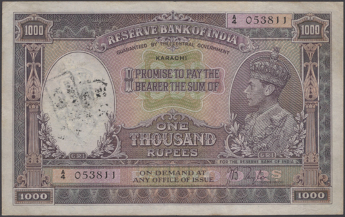 Very scarce 1937 British India 1,000 Rupees drawn on Karachi (P-21d). In gVF, it will carry an estimate of $9,500-10,500. (Image courtesy DNW)