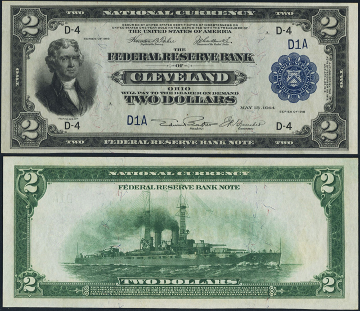 This 1918 serial No. 1 Battleship $2 Federal Reserve Bank Note is one of only four No. 1 $2s known to date.
