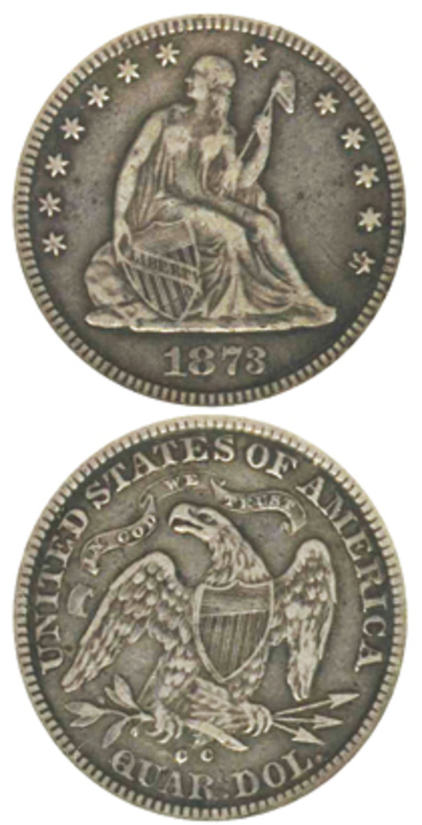 Although half a dozen or fewer examples are known, the 1873-CC no arrows quarter has lived in the shadow of the sole 1873-CC no arrows dime specimen. (Image courtesy www.usacoinbook.com and Heritage Auction Galleries)