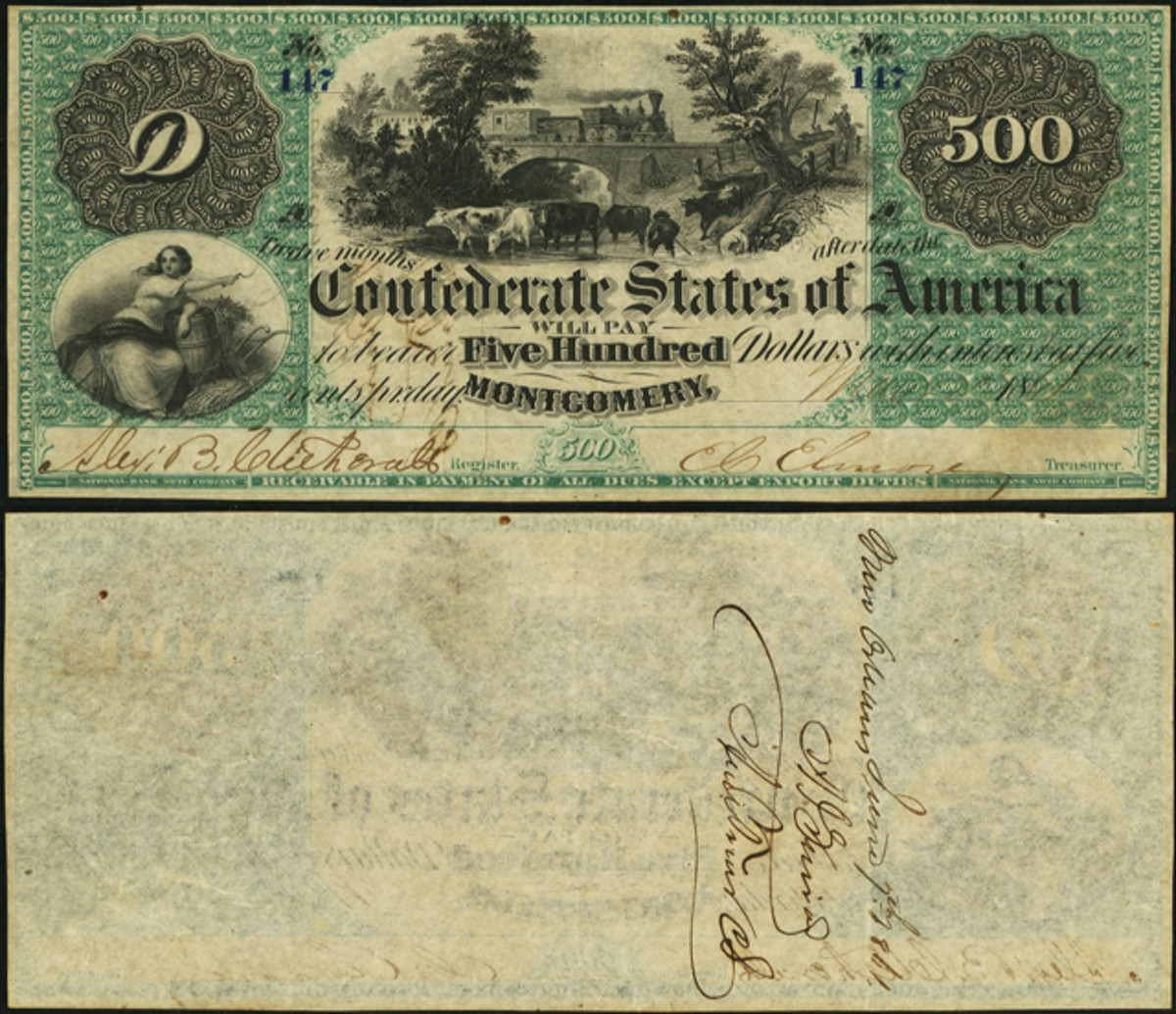 This Montgomery T2 $500 Confederate note is thought be worth $30,000+.