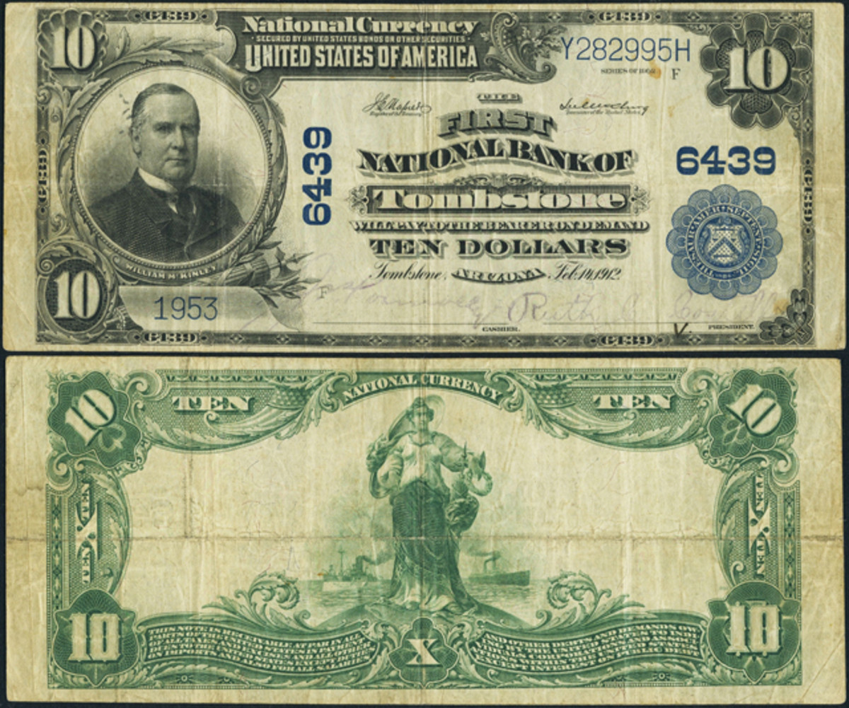 From Arizona is this $10 The First National Bank of Tombstone 1902 Plain Back.