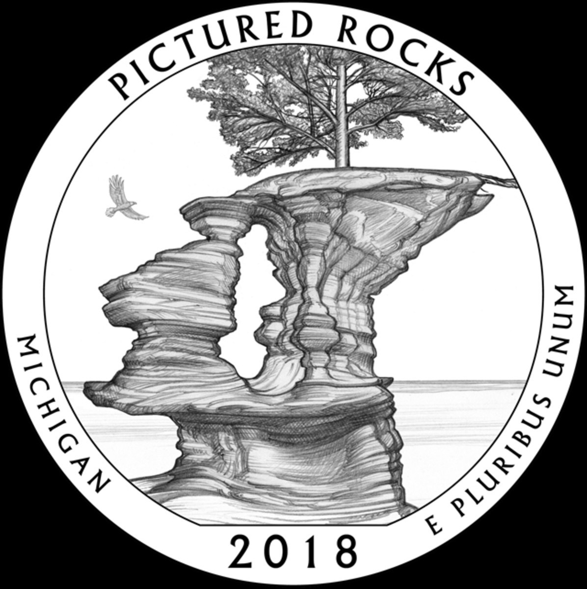 CCAC's chosen Michigan Pictured Rocks quarter design.