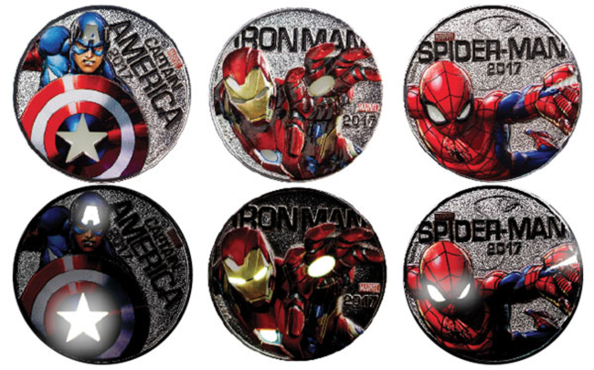 Captain America, Iron Man and Spider-Man as depicted on Fiji's new 50-cent coins, both as is (top row) and all lit up (bottom row). (Images courtesy ModernCoinMart)