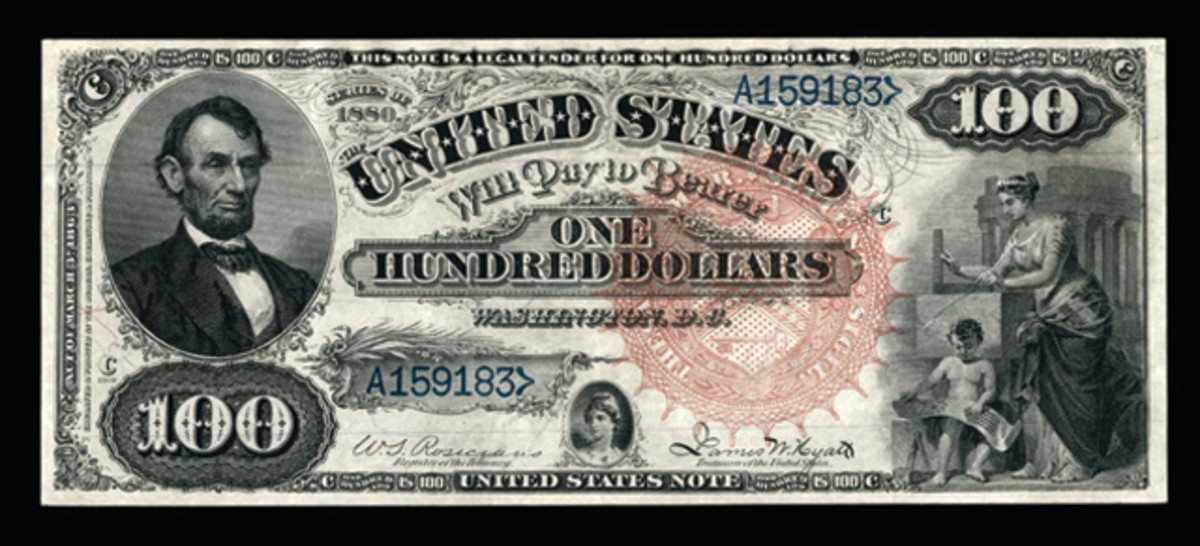 This 1880 $100 Legal Tender Note, Fr. 176 went for $65,000.