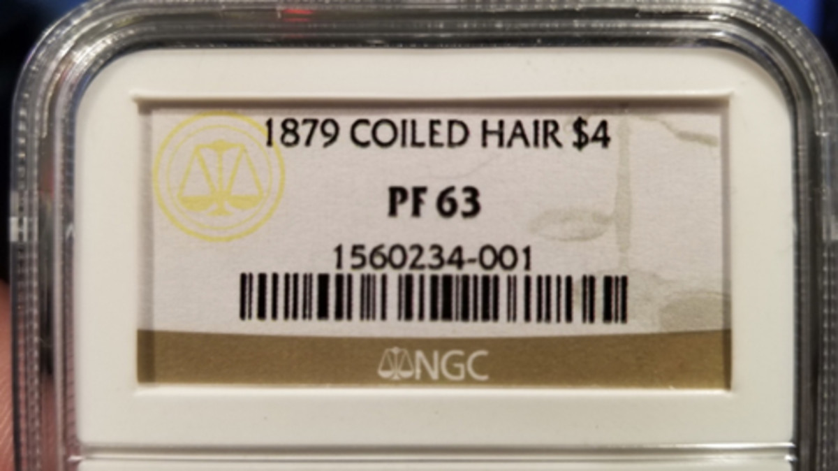 The fake 1879 Coiled Hair $4 Stella was housed in a counterfeit NGC holder with the same grade and certification number as a genuine example that sold for $300,000 in 2019. (Image courtesy Ryan Moretti.)