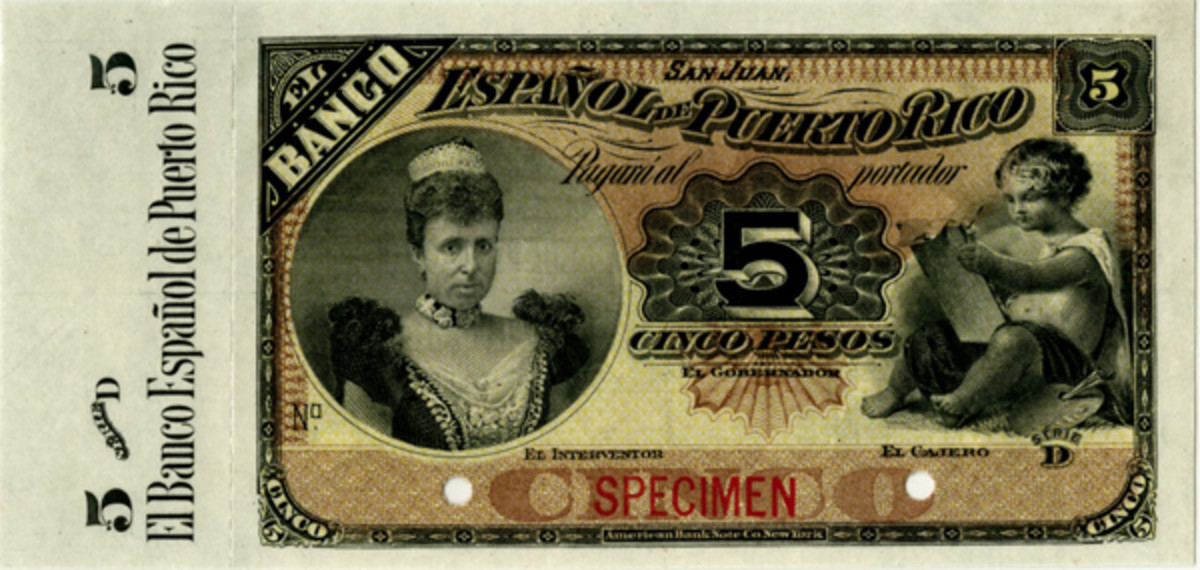 Most desirable Gem Uncirculated PMG 65 EPQ Puerto Rican 5 pesos specimen of 1894 (P-26s). (Image courtesy Archives International Auctions)