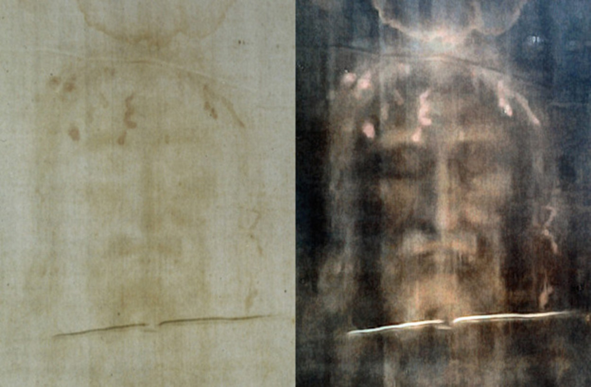 A modern photo of the face on The Shroud of Turin (left) and a digitally processed image (right). (By Dianelos Georgoudis - Own work, CC BY-SA 3.0, https://commons.wikimedia.org/w/index.php?curid=33117743)