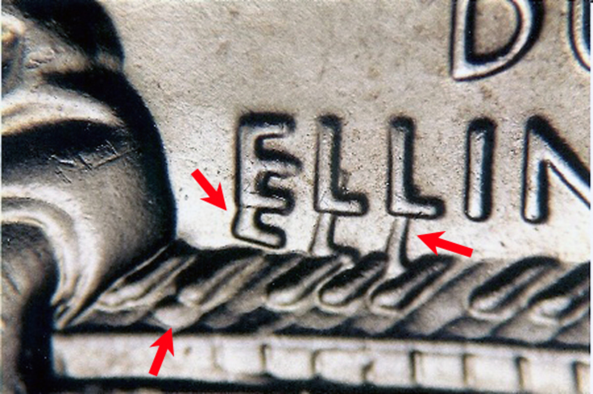 The doubled-die District of Columbia quarter shows strong doubling in the letters of Ellington's anme as well as the piano keys as indicated by arrows.