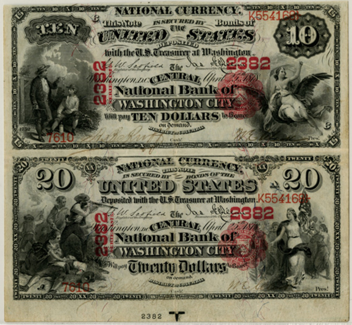 The 1875 $10/$20 National Bank Note pair of the Central National Bank of Washington, D.C. (Fr.419/434) that will be offered in AIA's December NY sale. It grades PCGS Very Fine 30 with minor restorations. (Image courtesy Archives International Auctions)