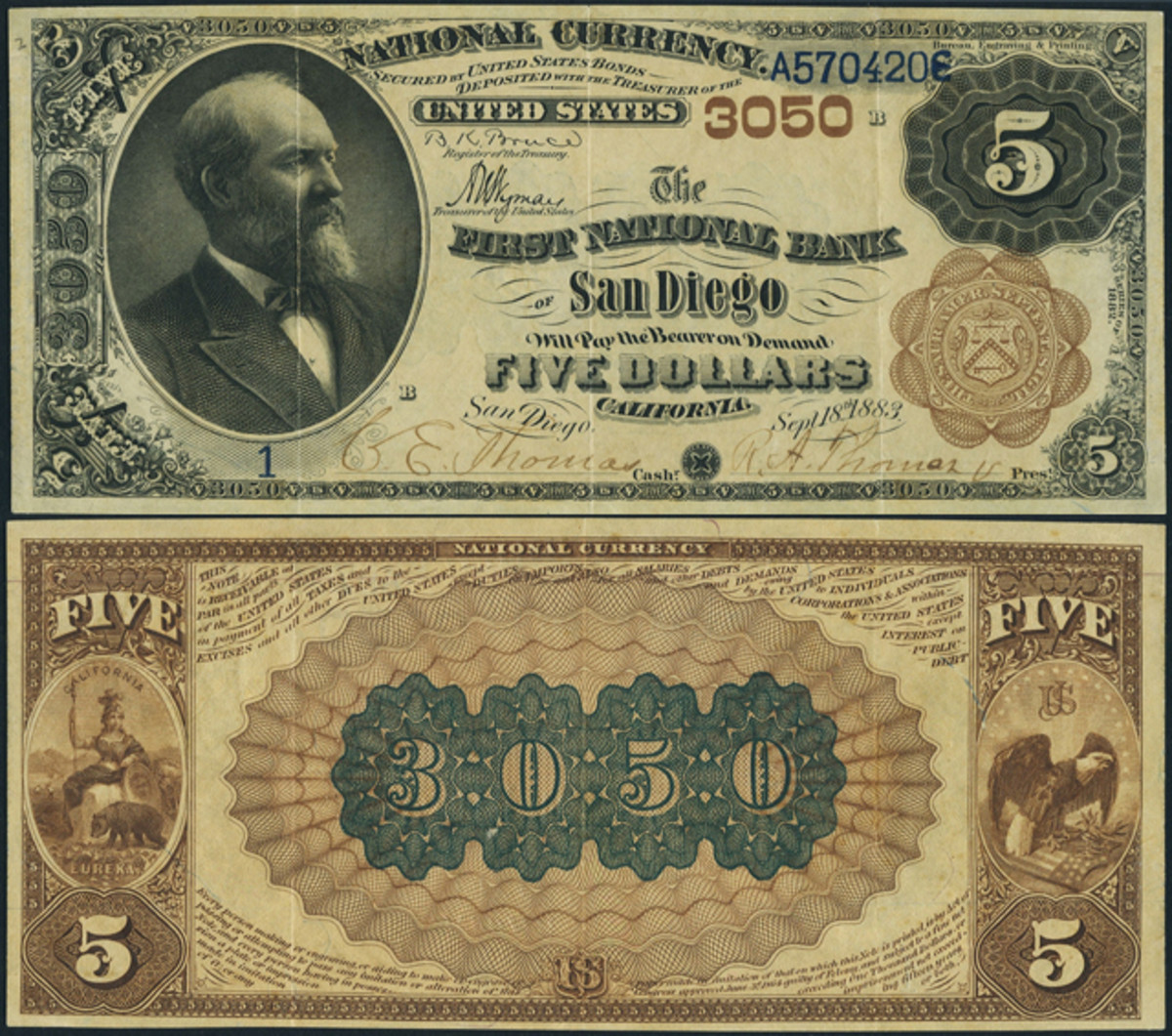 A newly discovered No. 1 The First National Bank of San Diego, Calif., Brown Back $5.