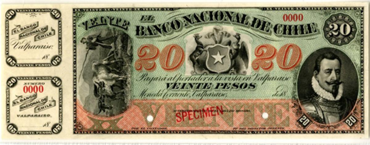 The Banco Nacional de Chile 20 pesos specimen (P-S335s), part of the quartet of 1878-1879 issue specimens on offer. It comes graded PCGS Choice AU 58PPQ. (Image courtesy Archives International Auctions)