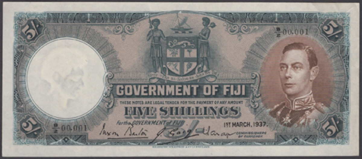 One for low serial number fans: First issue George VI Fiji 5 shillings of 1 March 1937 (P-37a) with serial number B/2 00001. In gXF, the estimate is $2,500-3,500. (Image courtesy DNW)