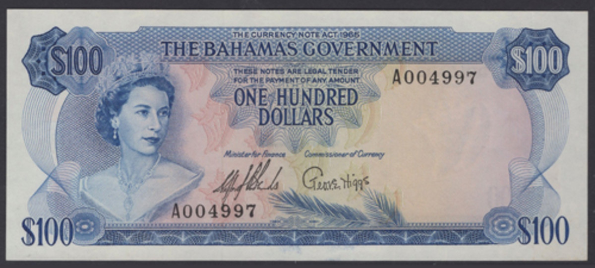 British Commonwealth classic: Bahamas $100 of 1966 (P-25a) that will go to the block in April graded PCGS 58 PPQ Choice About Uncirculated with an estimate of $12,000-15,000. (Image courtesy DNW)