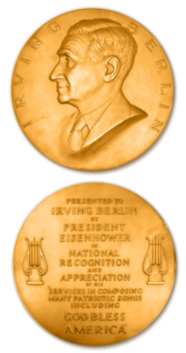 The Congressional Gold Medal honoring Irving Berlin can now be seen because of research by Mel Wacks. © 2018 Jewish-American Hall of Fame. Prepared by Mel Wacks NLG.