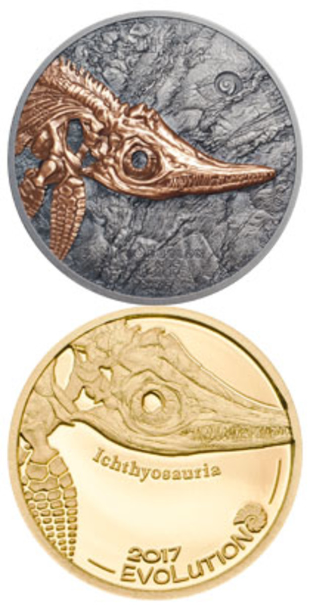 Reverses of Mongolia's 500- and 1,000-togrog coins showing the fossil skeleton of an Ichthyosaur. (Images courtesy Coin Invest Trust)