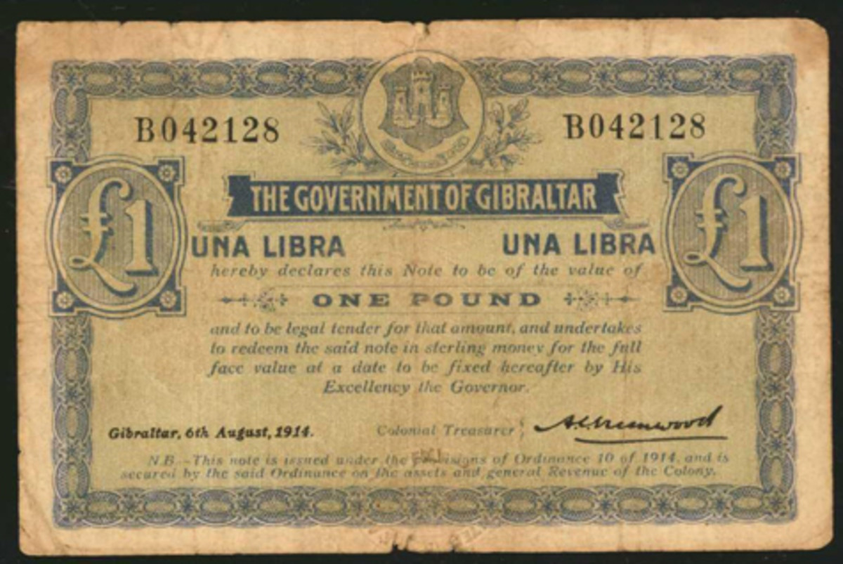 WWI rarity: Gibraltar Series B pound of 1914 (P-8) that sold for $13,200 despite its PCGS Currency Fine 15 grade complete with edge splits and small tears. (Image courtesy Stack's Bowers)