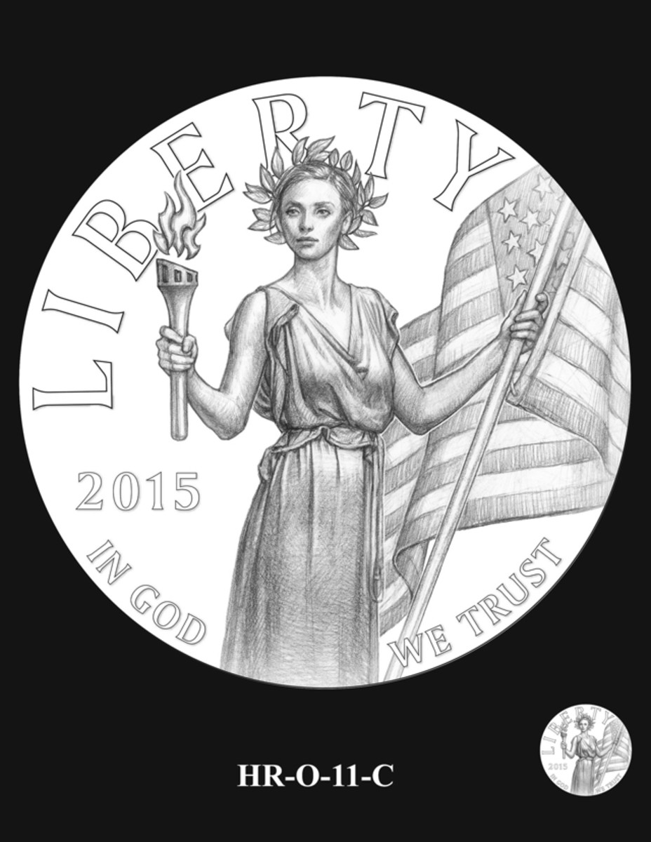 The CCAC recommended this obverse design for the 2015 high relief gold and silver coin.