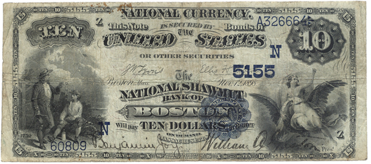 A $10 national from The National Shawmit Bank of Boston with the rare Z plate position letter.