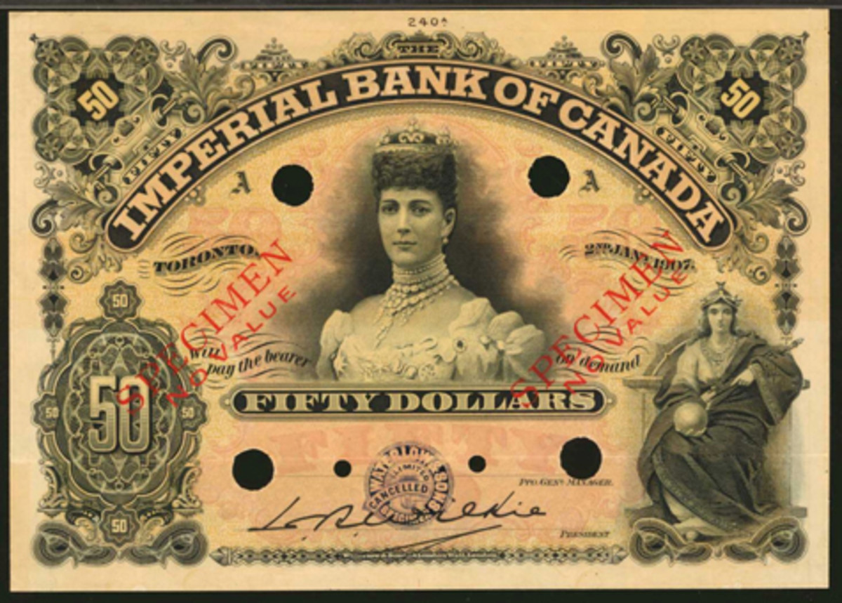 Queen Alexandra helped this Imperial Bank of Canada $50 specimen of 1907 (CH-375-12-16S) achieve $19,200, or well over twice upper estimate. (Image courtesy Stack's Bowers)