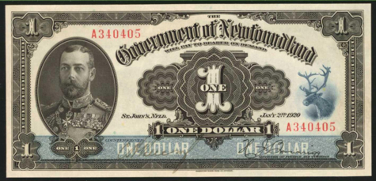 A young George V features on the top-selling Government of Newfoundland 1920 1 dollar (NF-12d) from Stack's Bowers' NYINC sale in January. The note took $26,400 in fabulous PCGS Gem New 66 PPQ condition. (Image courtesy Stack's Bowers)