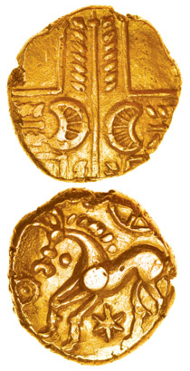 Selling for $10,166 was a gold stater of the Iceni, Talbot Type. (Images courtesy & © Celtic Coins)