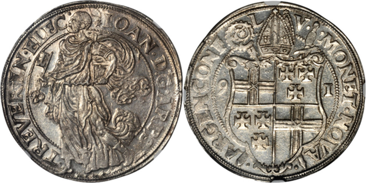 From Trier comes this taler of 1591, Johann VII (1581-1599) graded NGC MS-62. It is a highlight of the Stack's Bowers world coin and paper money auction at ANA.