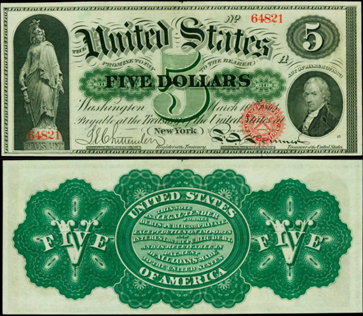 Estimated at $25,000 to $35,000 is the finest known Fr. 63b 1863 $5 Legal Tender Note.
