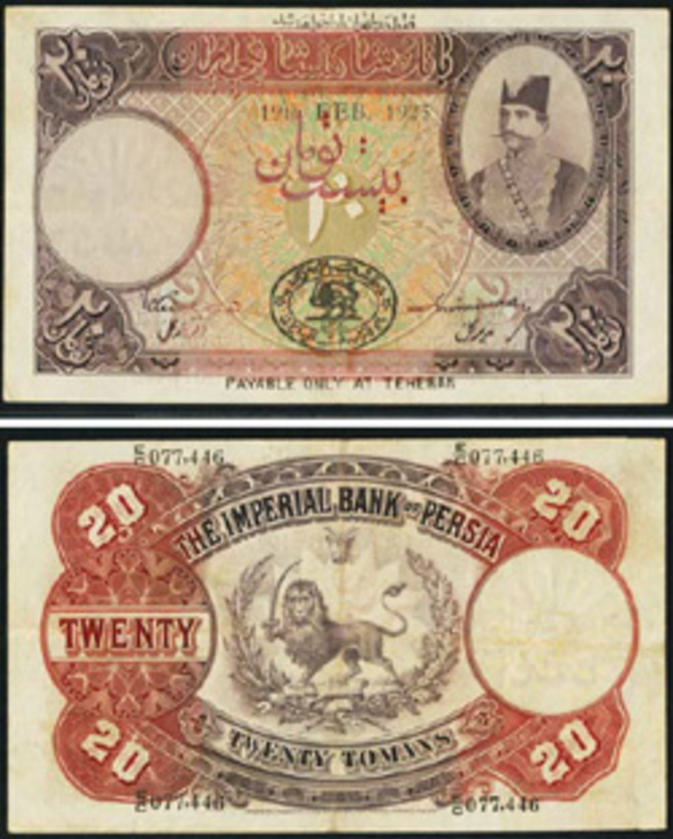 A rare Imperial Bank of Persia 20 tomans graded PCGS VF 25.