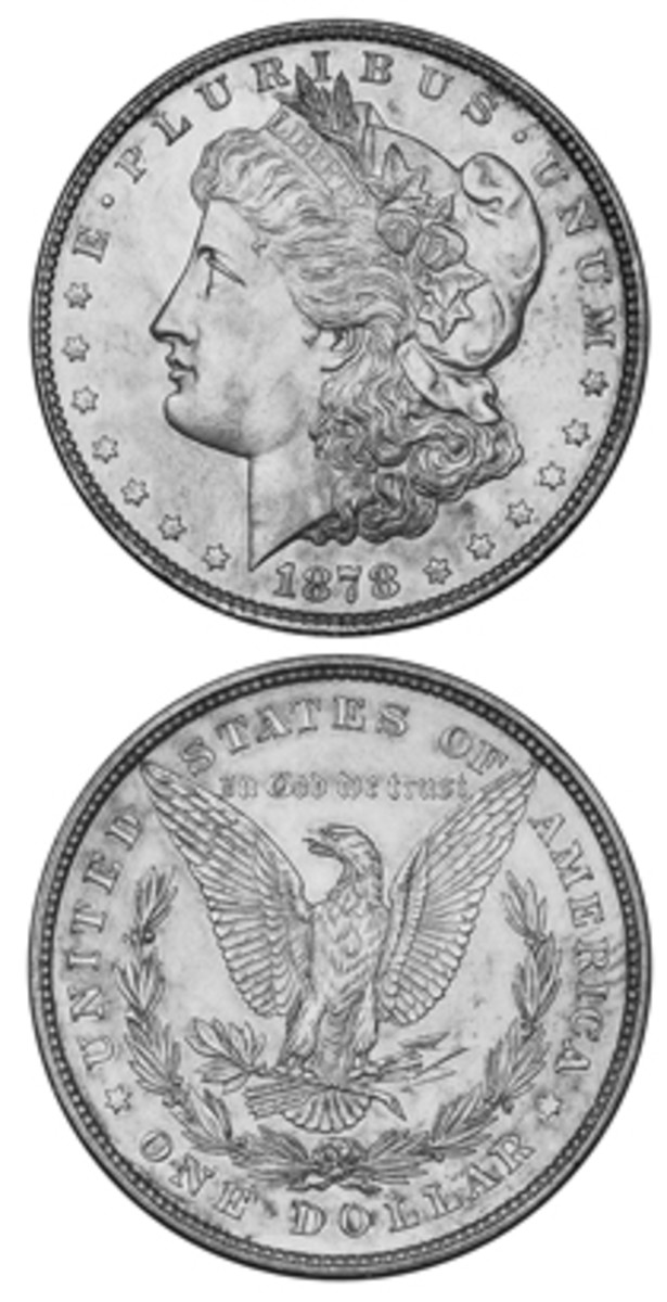 A nice 1878 Morgan dollar with 8 tail feathers is a special coin as the first of a very popular set.