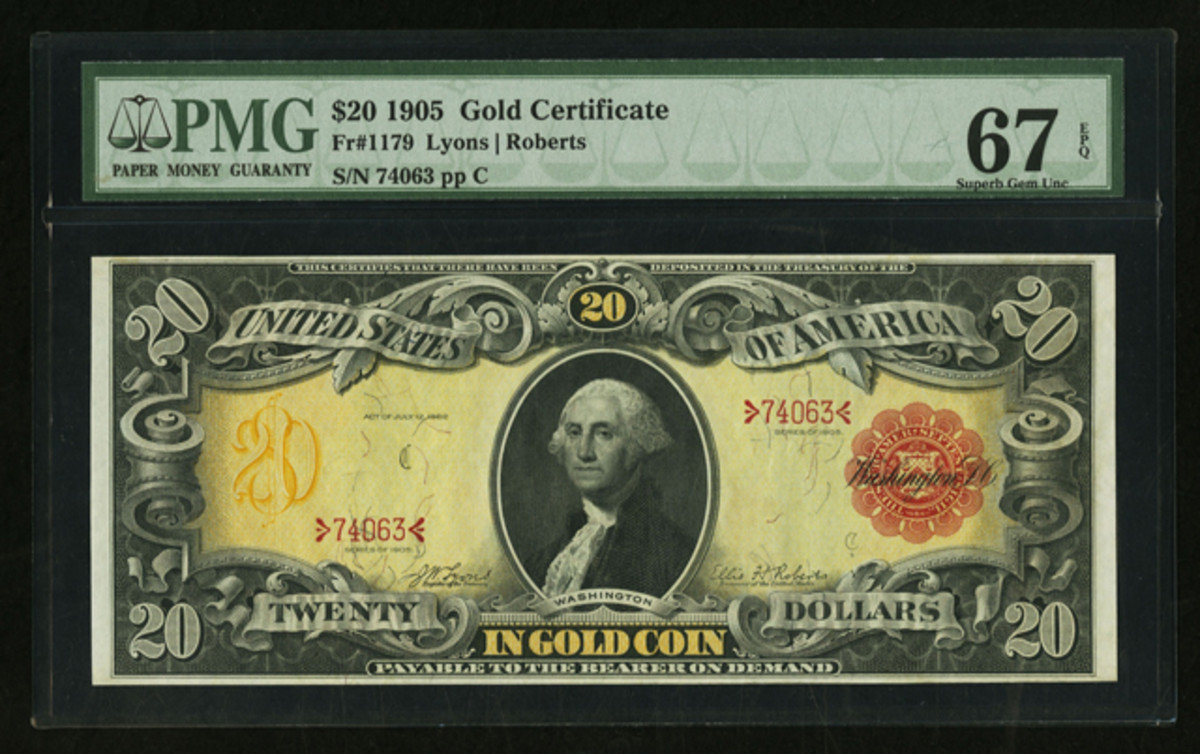 "A ""Technicolor""1905 $20 Gold Certificate in PMG Superb Gem Uncirculated 67EPQ is at the top of the population listings and a featured lot in Heritage's FUN auction."