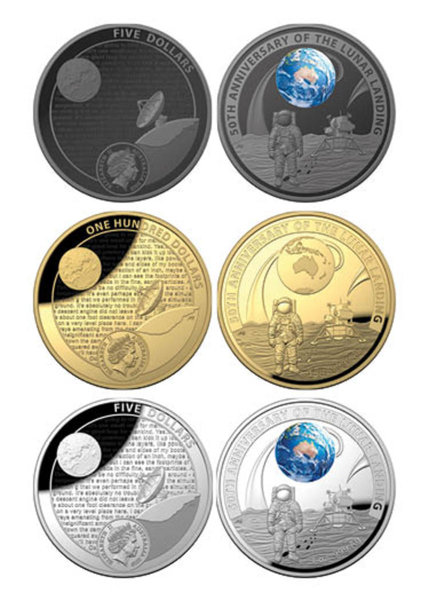 Australia's three proof commemoratives marking the 50th anniversary of the first lunar landing on Jul. 20, 1969. From left: domed-shaped, black nickel-plated $5; gold $100; silver$5. (Images courtesy & © RAM.)