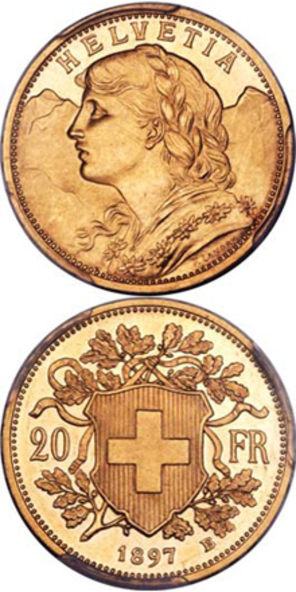 "Superb Swiss 'Stirnlocke-Vreneli' pattern 20 francs of 1897-B showing the ""frivolous"" forelock realized $105,750. Image courtesy www.ha.com."