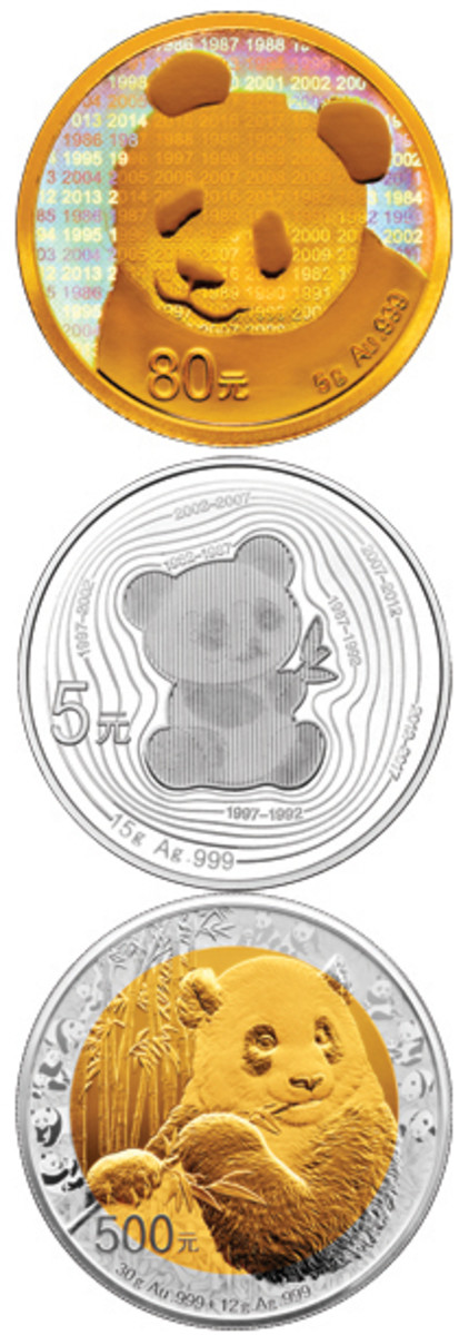 The three reverses of the gold and silver commemorative proofs struck to mark the 35th anniversary of the introduction of the Panda.