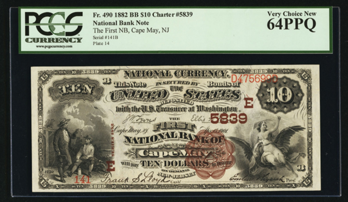 This Brown Back $10 is from the First National Bank of Cape May, N.J.