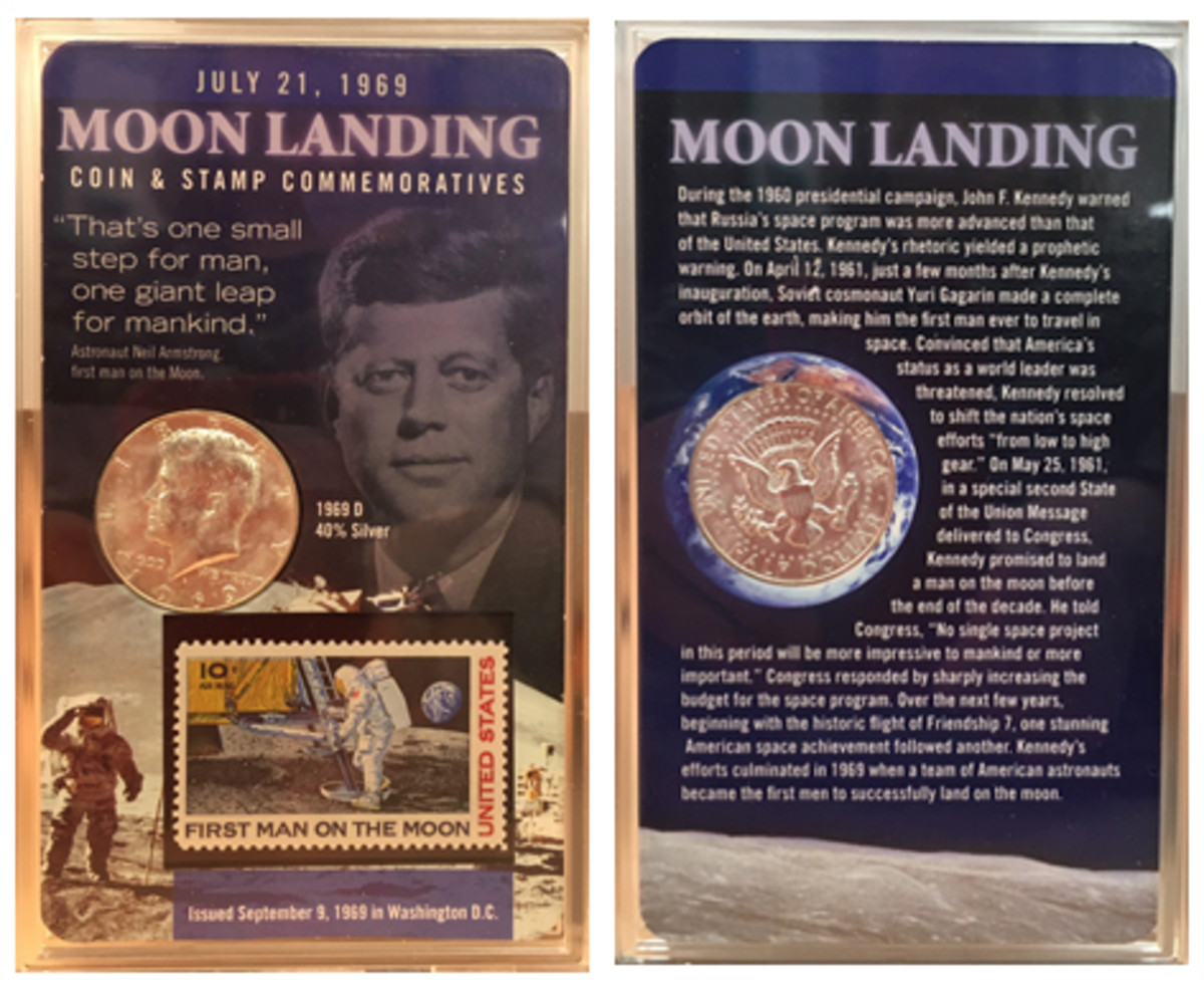 What is the origin of this Moon Landing Coin & Stamp Commemoratives set?