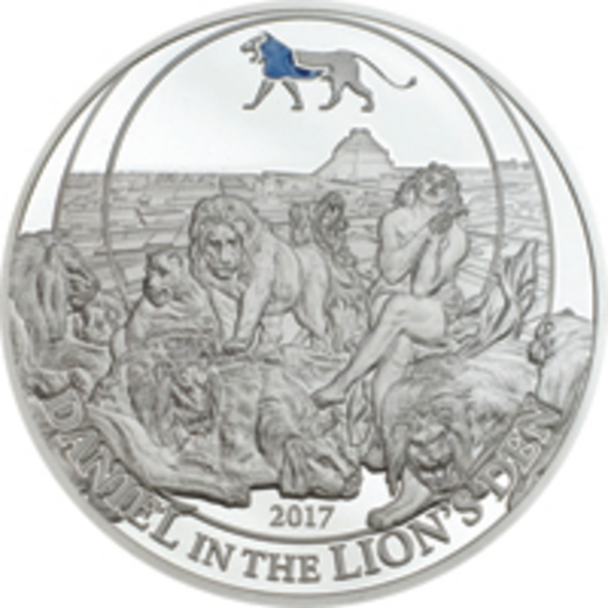 Reverse of Palau's Daniel in the Lions' Den silver $2 proof showing the Jewish hero as a young man. (Image courtesy Numiscollect)