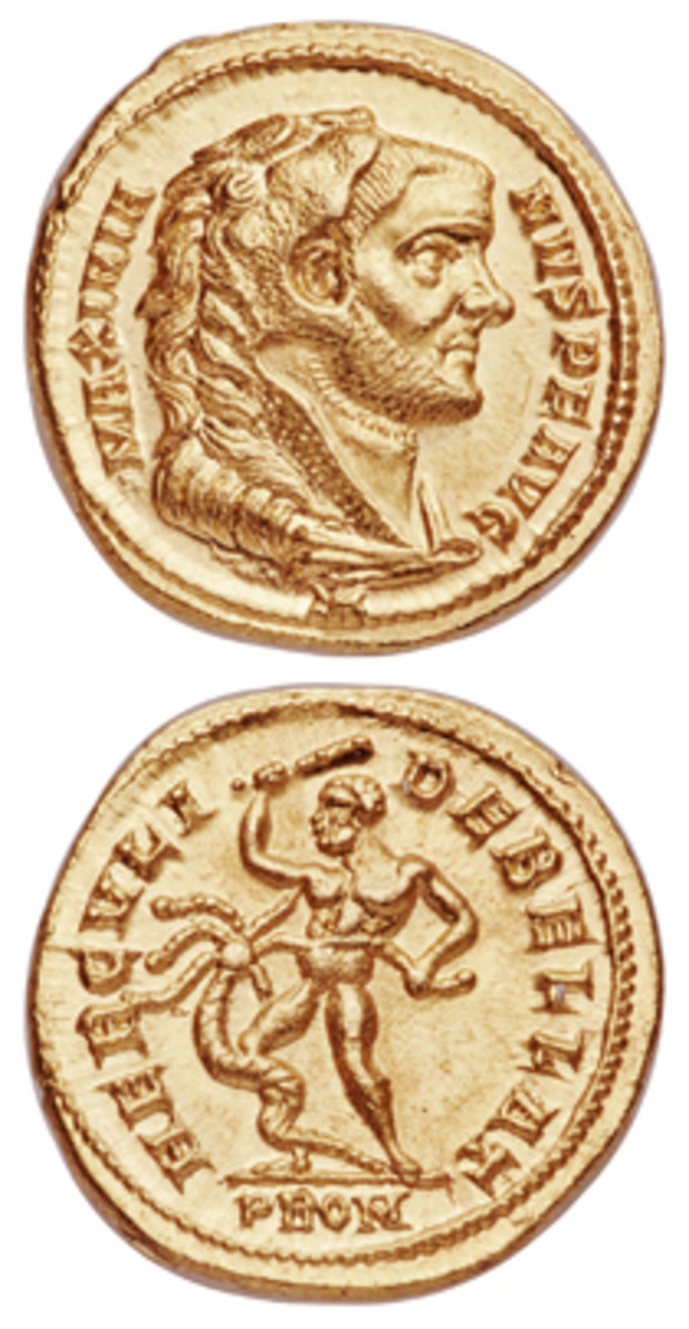 One of numerous mint state Roman Imperial aurei to be offered by Heritage Auctions at NYINC in January: choice Maximian (286-310 C.E.) first reign aureus (Calicó 4661). In NGC Choice MS 5/5 - 4/5, Fine Style, it carries an estimate of $10,000-$20,000. (Images courtesy and © www.ha.com)