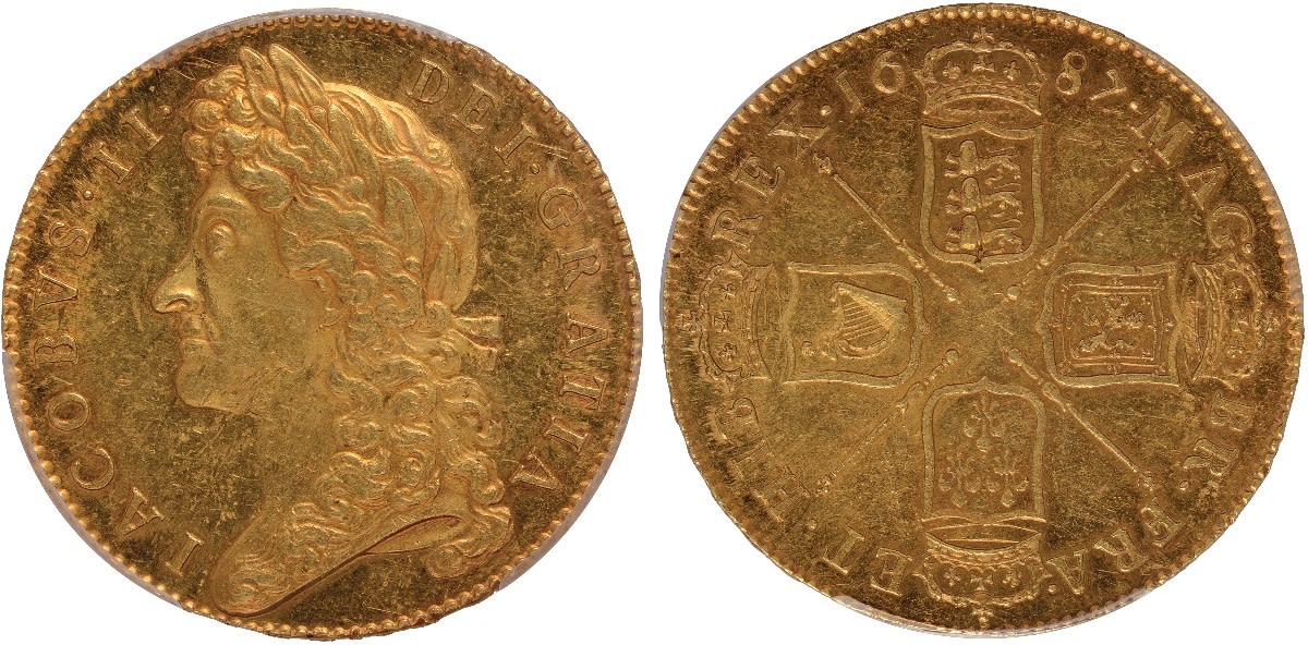 Top Stuart gold: five guineas of James II dated 1687 (KM-460.1; S-3397A) that realized $73,324 graded PCGS Mint State 61. (Images courtesy Baldwin's of St James)