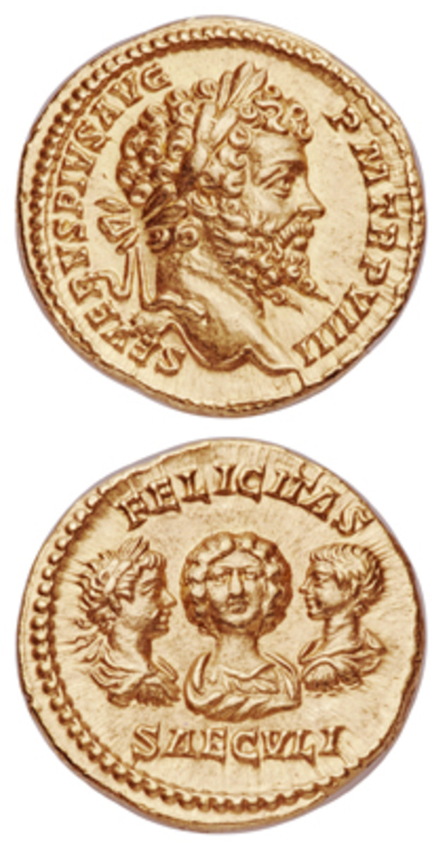 Very rare aureus (RIC IV.I 175. Calicó 2589a) of Emperor Septimius Severus showing his wife Julia Domna and sons Caracalla and Geta on the reverse. In exceptional NGC Choice MS Star 5/5 - 5/5, Fine Style condition, the estimate is $20,000-30,000. (Images courtesy and © www.ha.com)