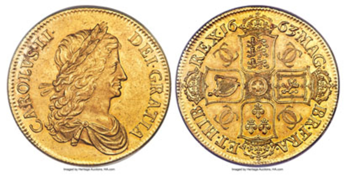 One of just six gold proof pattern crowns of Charles II by John Roettiers (W&R-51, ESC-356) that took $288,000 in PR58 PCGS. (Images courtesy and © www.ha.com)