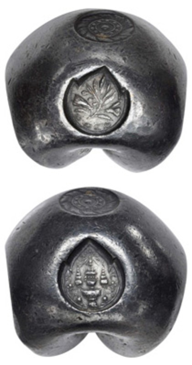 Thai 20 baht bullet commemorative struck in in CS 1242 (1880) by King Chulalongkorn to mark the ceremonial cremation of his mother Somdet P'ra Deb Sirindhra (C-193). Extremely rare and in gEF it sold above upper estimate for $22,800 in Stack-Bower's Hong Kong sale. (Image courtesy & © Stack's Bowers)