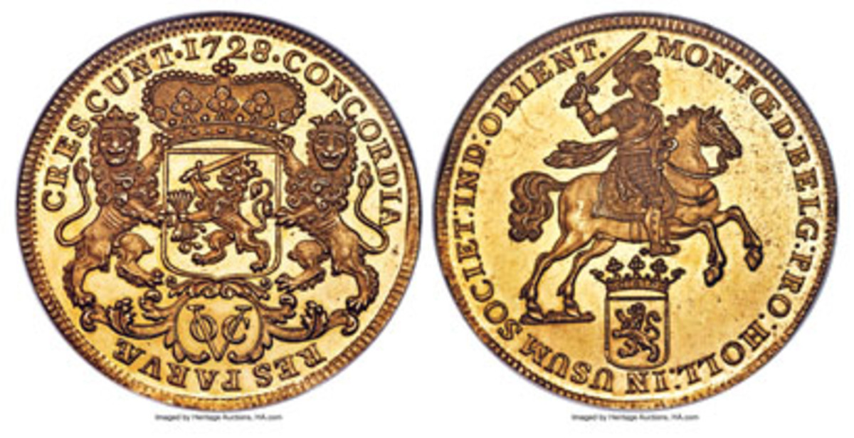 Top-selling lot from Heritage Auctions' NYINC world coin sale: Netherlands East Indies proof pattern ducaton of 1728 struck off-metal in gold (KM-71a) that realized a record $336,000 in PR64 NGC. (Images courtesy and © www.ha.com)