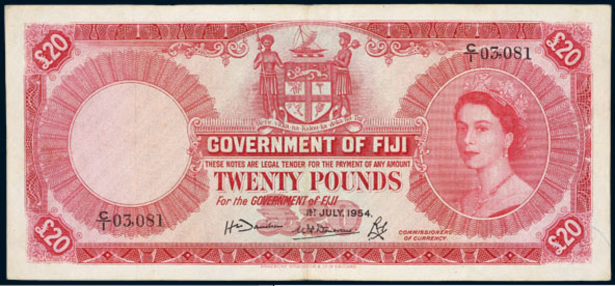 Rare Fiji Queen Elizabeth II £20 dated July 1, 1954, P-57a. In about VF it will be offered in Noble's Nov. 21-24 sale in Sydney.