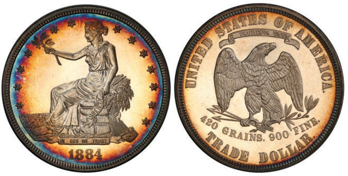 This 1884 Trade dollar graded PR-64 Cameo by PCGS is being offered during the Whitman Baltimore Spring Expo. Images courtesy PCGS.