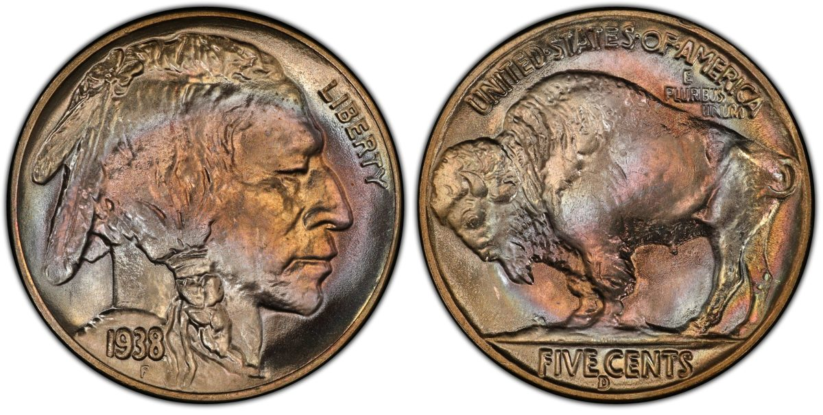 A 1938-D/S Buffalo nickel graded MS-67 by PCGS. (Images courtesy Heritage Auctions)